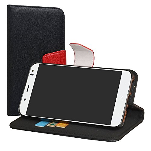 LiuShan BQ Aquaris VS Plus/Aquaris V Plus Hülle, Brieftasche Handyhülle Schutzhülle PU Leder mit Kartenfächer und Standfunktion für BQ Aquaris VS Plus/Aquaris V Plus (5,5 Zoll) Smartphone,Schwarz