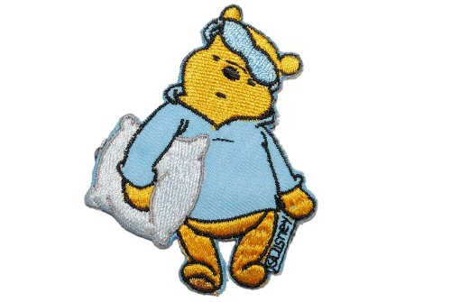 alles-meine.de GmbH Winnie The Pooh 5,7 cm * 7 cm Aufnäher Applikation Bügelbild Patch Poohbär Teddy Schlafanzug blau -