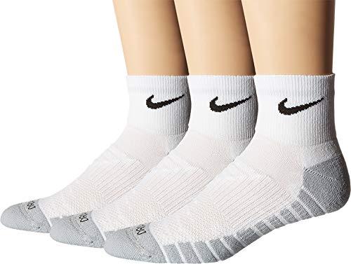Nike U Dry Cush QTR 3PR Socken, Herren L Weiß (weiß/Wolf Grey/schwarz) (Nike Herren Running Socken)