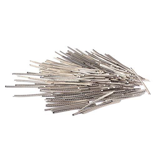 LIOOBO 100pcs Cupronickel Aleación de cobre y níquel Cables de trastes para guitarra eléctrica Bajo 68 mm Longitud 3 mm Ancho (plateado)