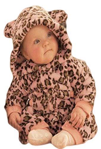 Fancy Me Baby Kleinkind Mädchen Rosa Leopard Tier Druck mit Kapuze Schneeanzug Einteiler Halloween Kostüm Kleid Outfit - Rosa, 9-12 Months (80cms), Rosa