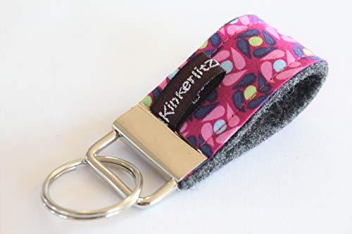 Schlüsselanhänger Schlüsselband kurz Filz Wollfilz handmade genäht herz am stiel kinkerlitzchen kleines Geschenk aus Filz Frauen Freundin Mutter Mädchen Valentinstag Muttertag Weihnachten mehrfarbig (Rosa Rotes Garn Herz)