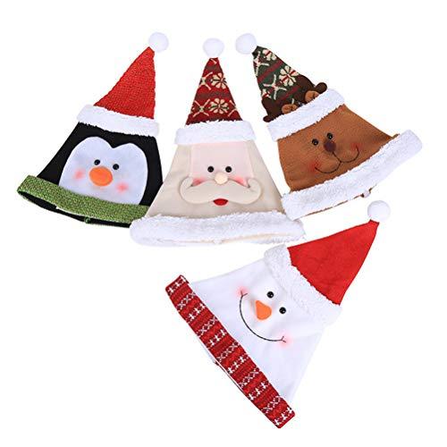 Kostüm Weihnachtsmann Pinguin - BESTOYARD 4 Stücke Weihnachtsmütze Nikolausmütze Weihnachtshüte Xmas Party Deko Mütze für Kinder Erwachsene Weihnachtsmann Kostüm (Weihnachtsmann / Schneemann / Elch / Pinguin)