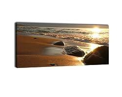 wandmotiv24 Leinwandbild Panorama Nr. 29 Steine am Strand 100x40cm, Keilrahmenbild, Bild auf Leinwand, Kunstdruck Meer Sonne Welle