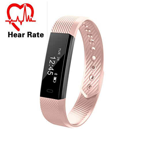 Fitness Tracker, Montre connectée sport, Bracelet connecté IP67 étanche, Bluetooth Podomètre, tracker d'activité, Cardiofréquencemètre, Calcul calories brûlées, moniteur de sommeil, Distance, Montre de Sport pour Femme Homme Enfant (Rose)