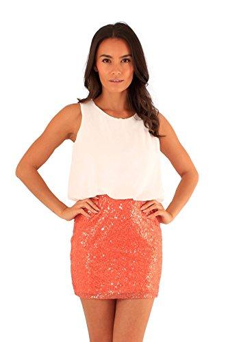 Damen Pailletten-Minirock 2 In1 ärmellosen Chiffon Abendkleid Cream-Orange