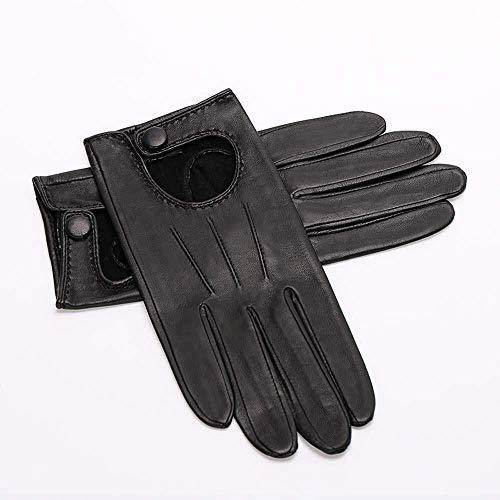 Lederhandschuhe Schaffellhandschuhe Frauen Frühling Und Herbst Dünnschliff Reparatur Mode Fahren Damen Schaffellhandschuh (Color : Black, Size : M)