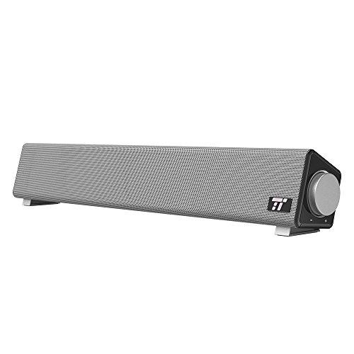 Soundbar per Computer con Cavo TaoTronics con Ampia Compatibilità, Altoparlante con Ingresso Microfono e Uscita Cuffie, Altoparlante per Computer con Suono di Alta Qualità per la Casa e per l'Ufficio