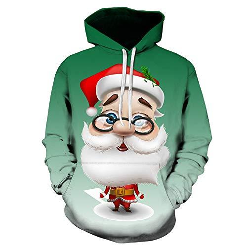 SANFASHION Weihnachten Pullover Jumper, Herren Damen Unisex Lustige Sweatshirts hässliche Pullover 3D Printed Xmas Grafik Santa Long Sleeve Shirt S-5XL Floyd Christmas Santa