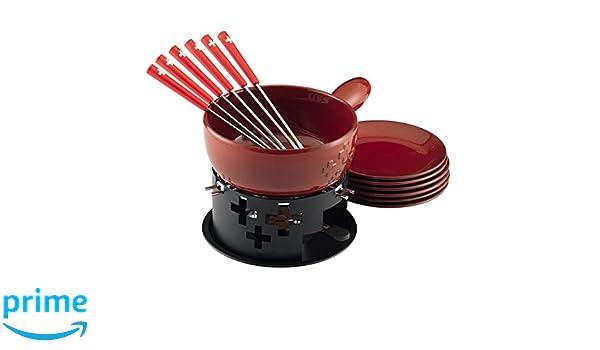 24 x 24 x 17 cm C/éramique KUHN RIKON 32202 Fondue au Fromage Set Croix Suisse Rouge