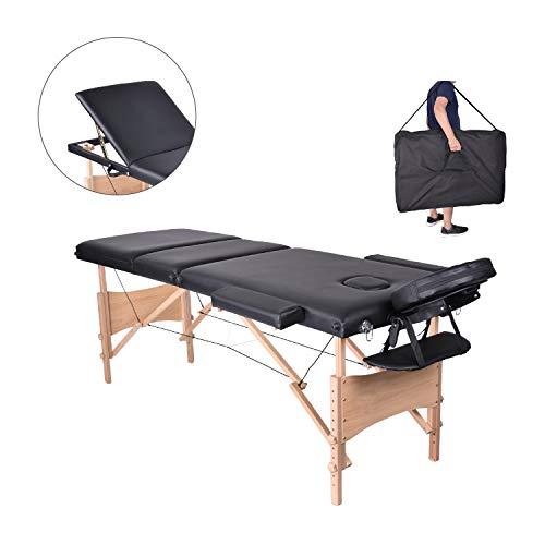 Pawstory 3 zone legno lettino lettini da massaggio pieghevole tavolo da massaggio portatile estetica tatuaggi con poggiatesta e bracciolo, borsa da trasporto (nero)