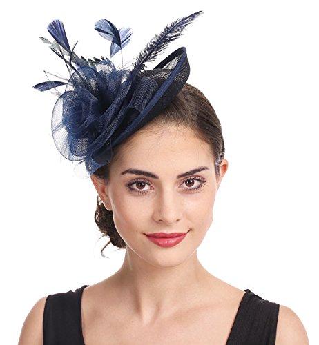 Fascinator Blume Netzmütze Feder Mesh Netz Schleier Tea Party Derby Hut mit Clip und Haarband für Frauen (A4-Navy)