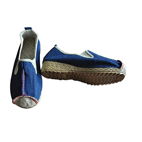 Meijunter Casual Chaussures chinoises Chaussures plates en lin Chaussons Casual Slip-on Shoes Des sandales Antidérapant Bleu