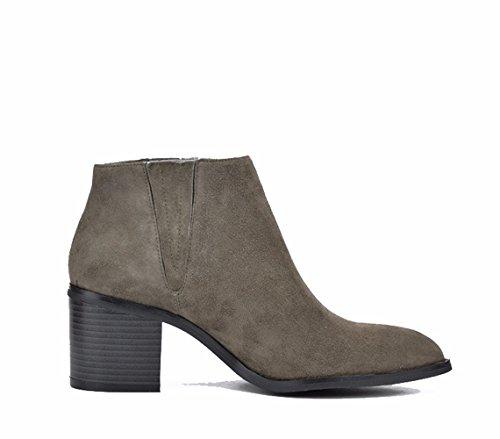 ZEARO Damen Stiefeletten Frühling Herbst Einzigen Stiefel Ankle Boots Lederoptik Gray