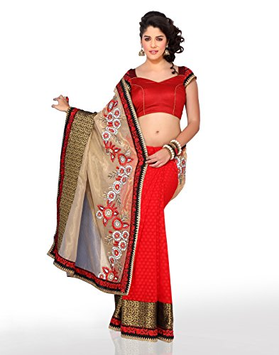 Chirag Sarees Synthetic Saree With Blouse Piece (3423_Red_Free Size)