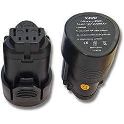 2x Batterie Li-Ion 2000mAh (12V) vhbw pour outils AEG BLL12C, BS12C, BS12C2, BSS12C, BWS12, BWS12CBWS, comme 3520, 3526, 4932, 584932, 954932, L1215.
