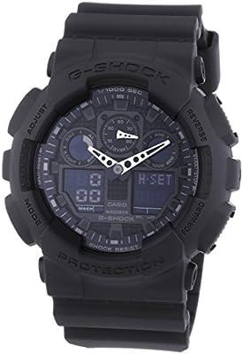 Casio G-Shock GA-100-1A1ER - Reloj de caballero de cuarzo, correa de resina color negro (con alarma, cronómetro, luz)