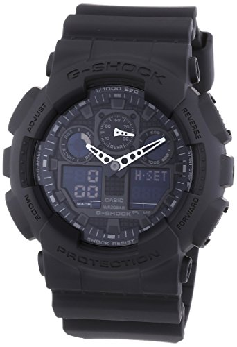 Casio Herren Analog-Digital Quarz Smart Watch Armbanduhr mit Harz Armband GA-100-1A1ER