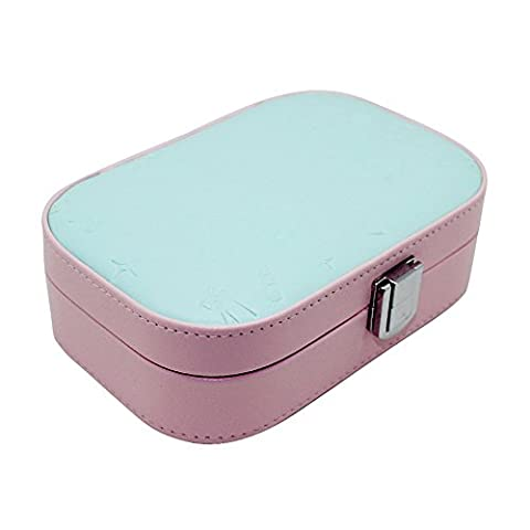 Boshiho Portable Leather Jewelry Box for Travel,Great Jewelry Storage Holder for Women and Girls Multi-lattice Jewelry Case with Mirror for Rings Earrings