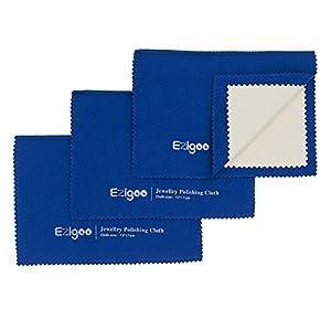 Ezigoo Silber Poliertuch 12 x 17 cm-Poliertücher für Silber/Gold – Mehrschichtiges Silber Tuch 3er Packung