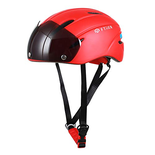 ZWYY Adult Road Bike Helmet mit Visor Protector Goggle 7 Vents Impact Resistant Sports Cycling Helm Outdoor Mountain Protective Safety Helm,red