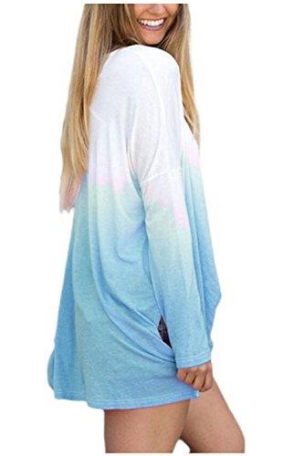 Beaii Damen Herbst Winter Gradient Farbe Loose Langarmshirt Rundhals Tunika Bluse Oberteile Tops T-Shirt Blau
