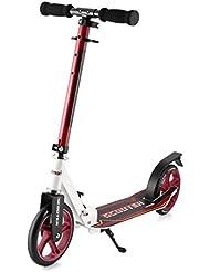Lionman Patinete con 2 Ruedas Grandes de Altura Ajustable Scooter Fácil de Plegar para Viajeros Urbanos (Rojo)