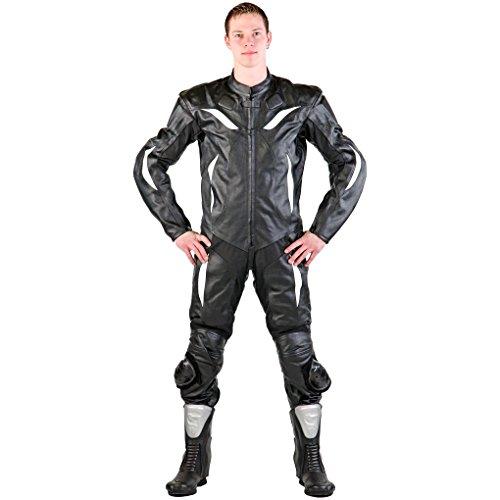 Lemoko Leder Motorradkombi Einteiler schwarz weiß Gr. S-4XL