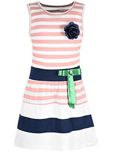 Kostüm Kind Türkei - Kmisso Mädchen Kleid Kinder-Kleider Sommer-Kleid Ärmellos Gestreift Schleife 30049 Lachs 116