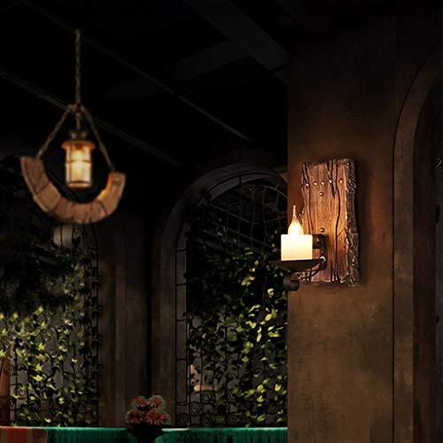 ZHYTX Ost-Westamerikanische Vintage Wandleuchte Holz Mann Wind Industrie Bar Kaffee Kandelaber Halleneingang Schlafzimmer Wandleuchte Kopfteil