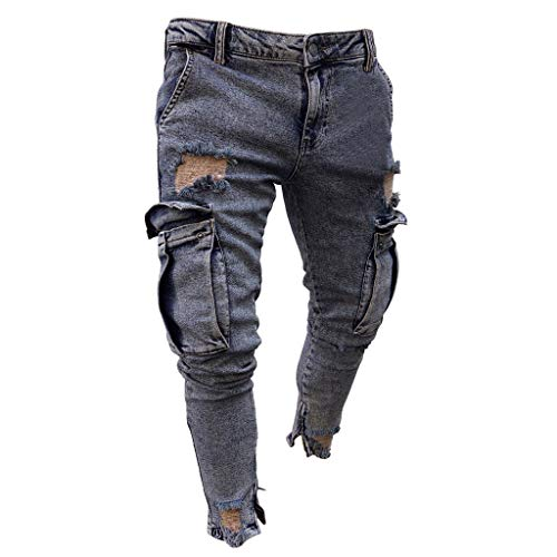 Fannyfuny Mode Herren Destroyed Jeans-Hose mit Taschen Reißverschluss Herren Slim Fit Jeans Denim Used Look Mit Destroyed-Optik Teen Jungen Party Kleidung Hellblau S-XXXXL -