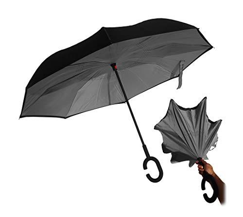 Paraguas Reversible invertido antiviento autosecado (Gris)