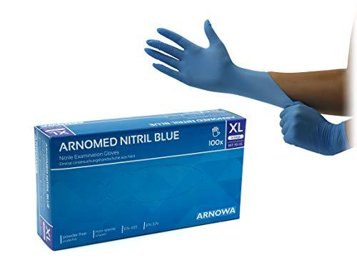 Einweg-Handschuhe blau, Nitril-Handschuhe puderfrei, Größe XL, 100 Stück/Box, Untersuchungs-Handschuhe, ungepudert, Einmal-Handschuhe von ARNOMED, EN 455, EN 374, extralarge