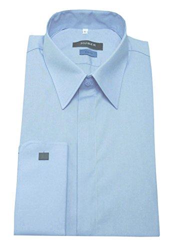 Umschlag Manschetten Hemd hell blau HUBER 0363 Slim Fit Größe S bis XXL Blau