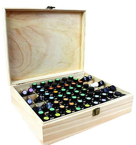 MUUZONING Aromatherapie ätherisches Öl Display Ständer Gestell Halter Organisator, 68 Löcher Holz Box Veranstalter Aufbewahrung Koffer für Nagellack, Duftöle, Stain und Lippenstift #3