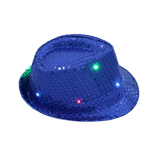 BESTOYARD LED Party Hut Jazz Hut Blinkende mit Pailletten für Silvester Party Kostüm Unisex Erwachsene (Sapphire)