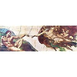 Michelangelo Buonarroti - La Creación De Adán, 1508-1512 Cuadro, Lienzo Montado Sobre Bastidor (150 x 50cm)