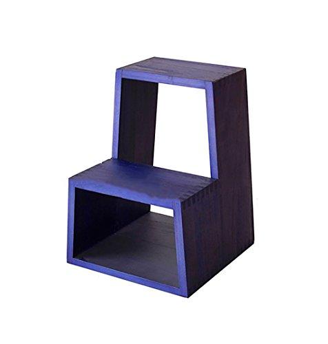 Trittleiter Ladder Hocker, Massivholz europäischen Stil einfach lila, Mehrzweck-Dual-Purpose Fuß...