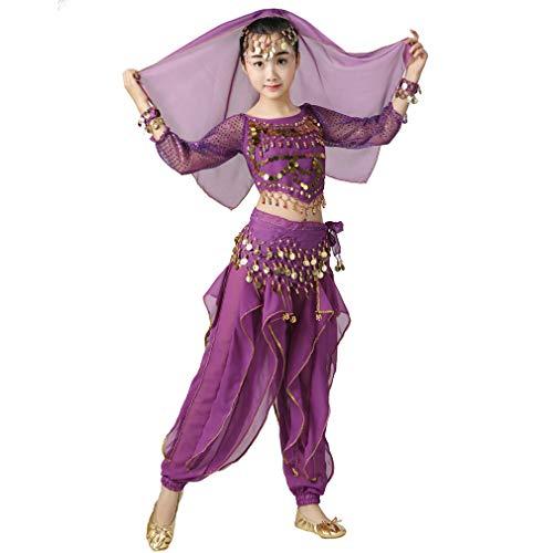 Kinder Kostüm Bauchtänzerin - Magogo Bauchtänzerin Kostüm Outfit 6pcs Kit für Mädchen, Kinder Arabian Princess Indian Dance Chiffon Kleidung Anzug (XL, Lila)