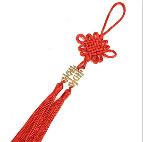 Wooya Double Bonheur Chinois Noeud Petit Pendentif Enveloppe Rouge Décoration Noeud Chinois avec Spike Invitation Haut De Gamme Noeud Chinois Tassel-Or