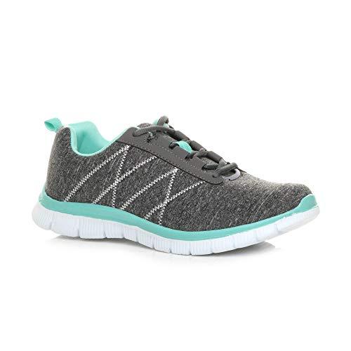 Ajvani , Damen Sneaker, grau - Grey / Mint - Größe: 39
