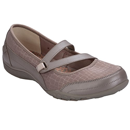 Leder-walking-mary Janes (Skechers Womens Relaxed Fit Breathe Easy Gleaming Mary Jane,Champagne,US 5 M)