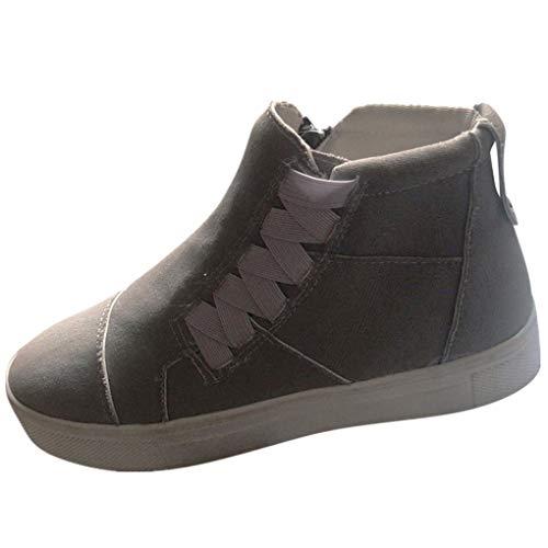 Comfort Sport Stiefeletten für Damen/Dorical Frauen Atmungsaktiv Turnschuhe Reißverschluss Retro Sportschuhe Slip-On rutschfest Sneaker Ausverkauf(Grau,43 EU)