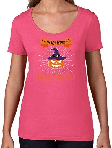 Kostüme Kinderfest (Ich habe keine Angst - Ich bin 11 Jahre alt - Damen T-Shirt mit Rundhalsausschnitt- Azalee -)