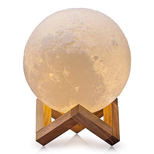 Lampada luna, 3D, 15 cm, touch USB, ricaricabile, luce notturna, molto bella, sensibile con supporto in legno, per camera da letto, soggiorno, caffè, regalo di compleanno, Natale