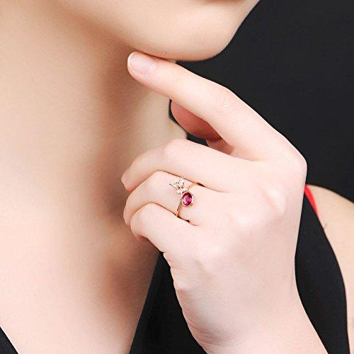 Erica S925 Style Européen Papillon Ruby Ouverture Ajustable Anneaux Cadeau Femmes SILVER