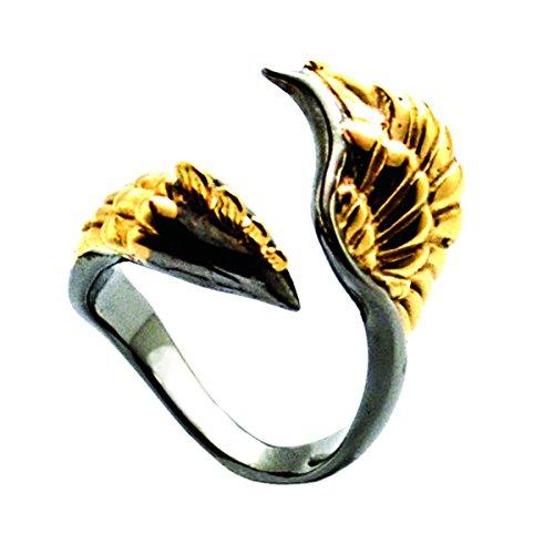 Burning Ash Phoenix Ring by MONVATOO London, 24 Karat goldener und schwarz rhodinierter Phoenix-Ring in freier Größe (verstellbares Band) - Verstellbar Band
