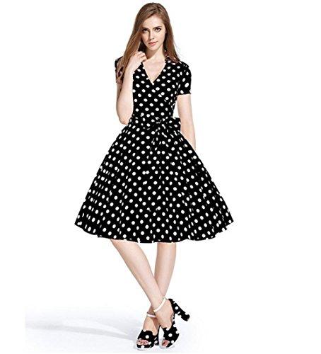 Robes femme de mode d'été rétro lapel manches courtes taille de papillon vague pointe grande jupe s