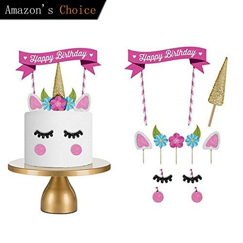 tion, Kindergeburtstag Deko Einhorn Cake Topper Tortenstecker Einhorn Party Supplies mit DIY Happy Birthday Wimpelgirlande für Mädchen und Jungen Jeden Alters (Cute Baby-dusche-dekorationen)
