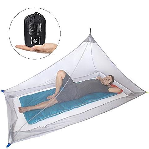 Dimples Excel Camping Moskitonetz für Einzel Camping Bed, Kompakt und Leicht (ultraleicht grau